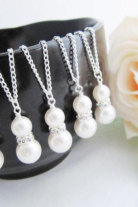 Wedding Jewelry Bridesmaids gift Swarovski Pearls with Rhinestone rondelles Bridal Bridesmaid Necklaces