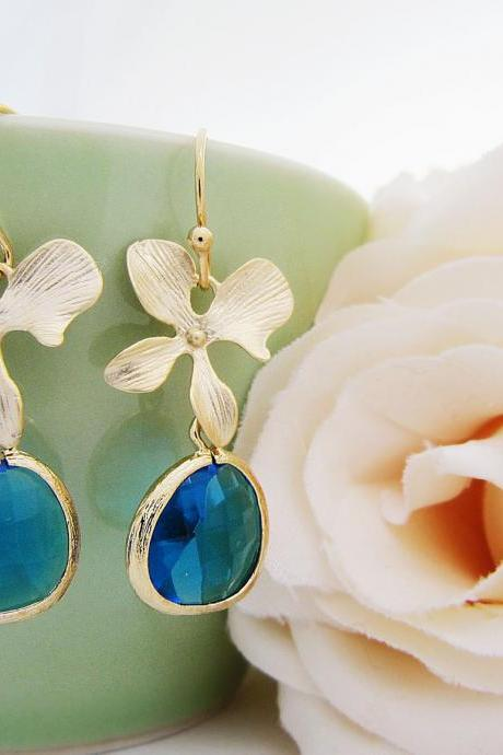 Matte Gold Orchid flower and Capri Blue Glass Drop Earrings . For Her. Gift for Her. Bridesmaid Earrings