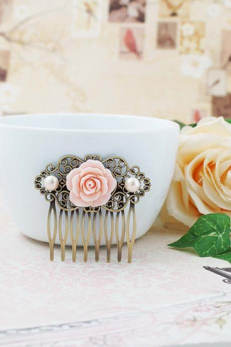 Wedding hair accessories Bridesmaids Gift Wedding Hair Comb Vintage Style Pale Pink Rose Flower Bridal Hair Comb Bridal Hair accessories