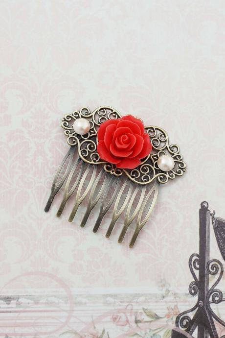 Wedding hair accessories Bridesmaids Gift Wedding Hair Comb Vintage Style Deep Coral Rose Flower Bridal Hair Comb Bridal Hair accessories
