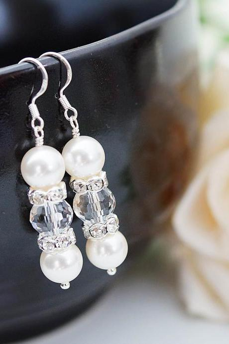 Wedding Jewelry Bridal Earrings Bridesmaid Earrings Sweet Crystal white Swarovski Pearls and Crystal with rhinestone rondelles