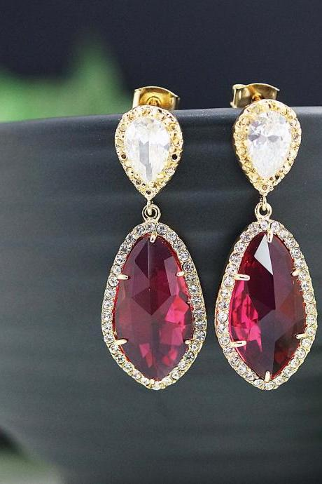 Wedding Jewelry Bridal Earrings Bridesmaid Earrings Dangle Earrings LUX Red Ruby with cubic zirconia drop Earrings