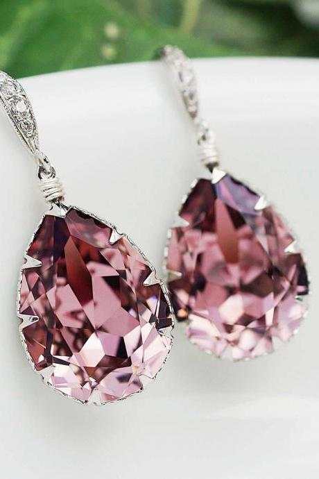Bridal Earrings Bridesmaid Earrings cubic zirconia ear wires and Antique Pink Swarovski Crystal Tear drop dangle earrings wedding jewelry