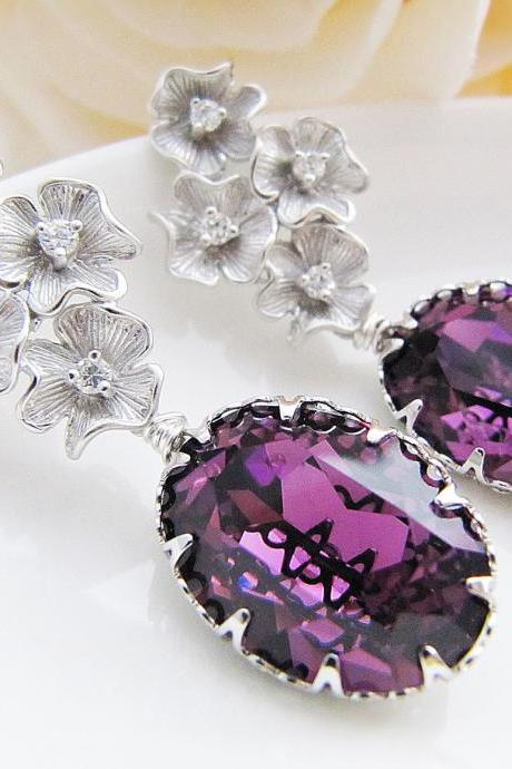 Bridal Earrings Matte rodium flower with cubic zirconia ear posts and Amethyst Swarovski Crystal Oval drops