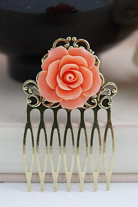 Bridal Hair comb Bridesmaids Gift Wedding Hair Comb Coral Rose Wedding Hair piece Christmas gift for her Bridal Hair accessories