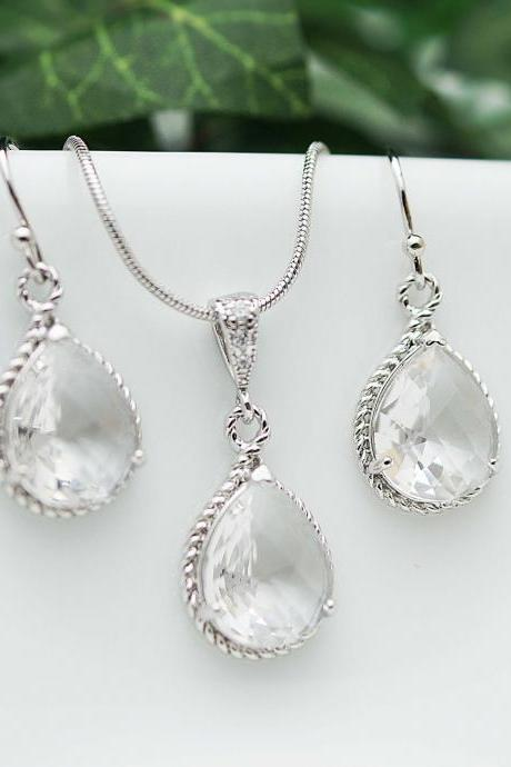 Wedding Jewelry Bridesmaid Jewelry Bridesmaid Earrings Bridesmaid Necklace Clear Glass Rhodium Trimmed Pear Cut Bridesmaid gift
