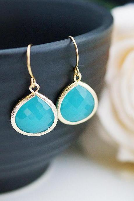 Wedding Jewelry Bridesmaid Jewelry Bridal Earrings Bridesmaid Earrings Dangle Earrings Mint Opal Sea Foam Glass Gold Trimmed Earrings