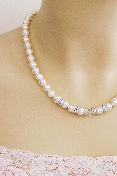 Wedding Jewelry Bridal Necklace Elegant Crystal White Swarovski Pearls with rhinestone spacer beads