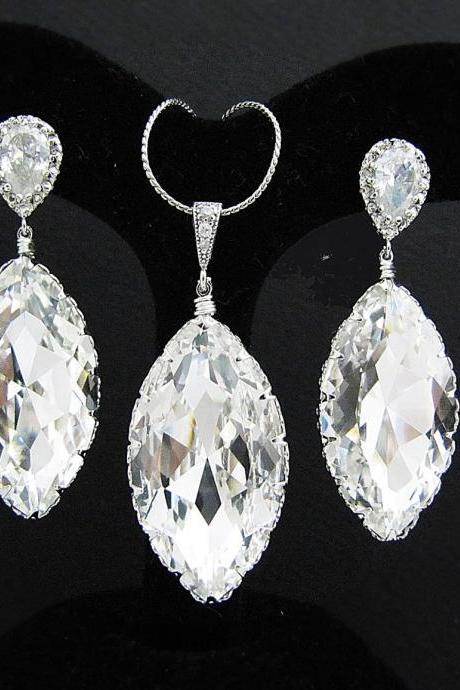 Clear White Swarovski Crystal Navette drops Bridal Necklace and Earrings Jewelry Set