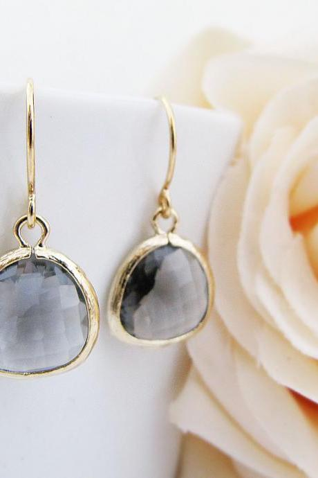 Black Diamond Glass Matte gold Trimmed dangle earrings Bridesmaid gifts wedding bridesmaid earrings bridesmaid jewelry