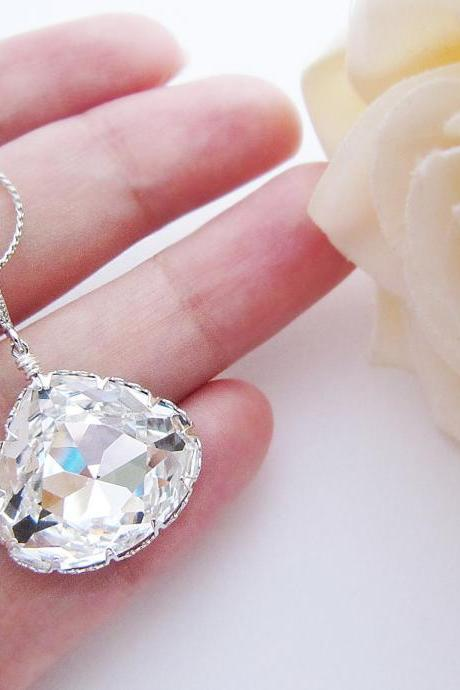 Bridal Necklace with Clear White Swarovski Crystal Large Triangle drop