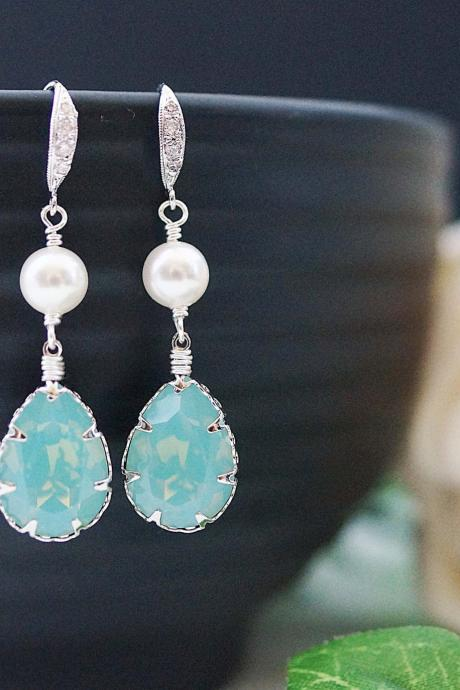 Wedding Bridal Earrings Bridesmaid Earrings Mint Pacific Opal Swarovski Crystal and Pearls drop dangle Earrings