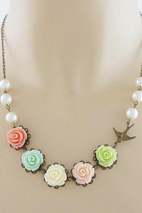 Bridal Necklace Bridesmaid Necklace Garden of Roses - Colorful Rose Flower Cabochons and Red Bamboo Coral Beads Necklace