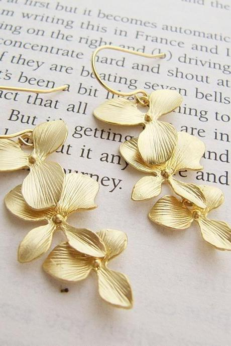 Orchid Trio Dangle Earrings - Matte Gold