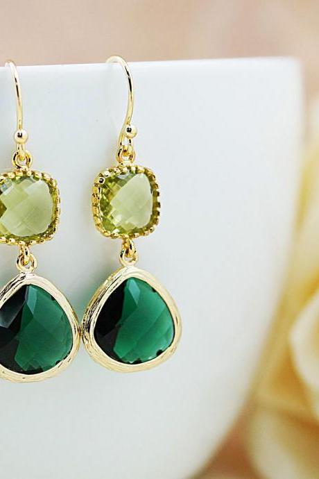 Wedding Jewelry Bridesmaid Earrings Dangle Earrings Gold Framed Emerald and Olive glass drop Earrings