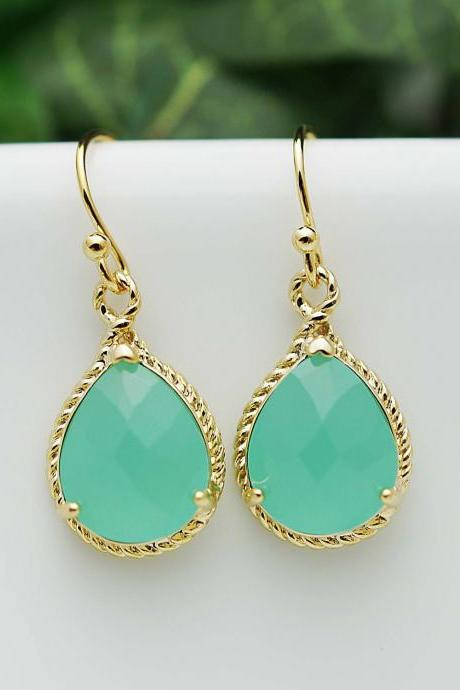 Bridal Earrings Bridesmaid Earrings Mint Opal Gold Trimmed Pear Cut Drop Earrings - Dangle Earrings