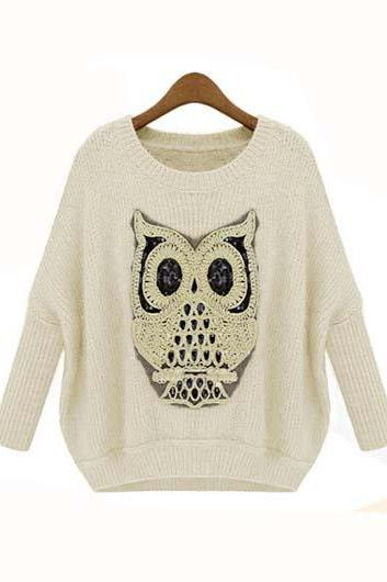 Cute Owl Design Round Neck Pullover Sweater