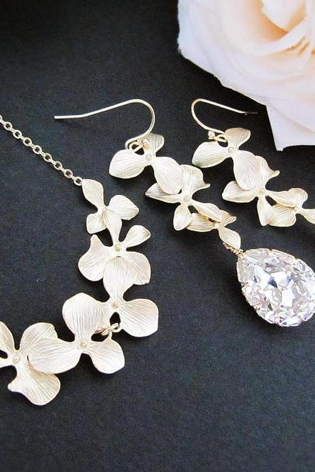 Wedding Jewelry Bridal Earrings Bridal Necklace Matte gold finish Orchid Trio Flower charms and Clear Swarovski Crystal Drops Jewelry Set