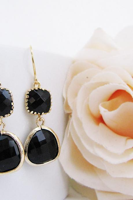 Black Jet Glass Matte Gold Trimmed Earrings . Gift for Her . Bridesmaid Earrings