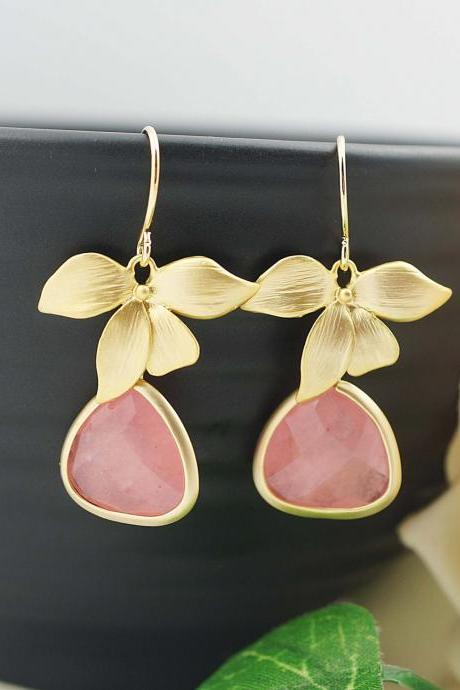 Matte Gold flower and Baby Pink Jade drop dangle Earrings