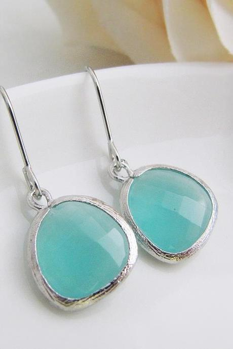 Dangle Earrings Drop Earrings Mint Opal Glass Matte Silver Trimmed Dangle Earrings Bridesmaid Gifts for her