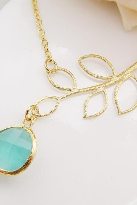Simple Leaf with Sea Foam Mint Opal Glass Drop Necklace , For Her. Gift for Her