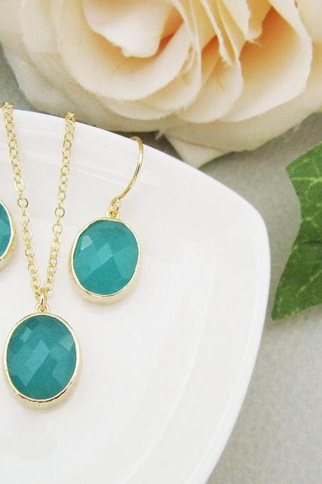 Bridesmaid Earrings Bridesmaid Necklace Bridesmaid Jewelry set Gold trimmed Mint Opal Glass Jewelry set
