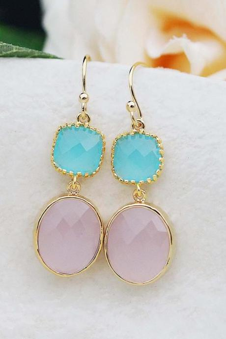 Wedding Jewelry Bridesmaid gift Bridesmaid Earrings Dangle Earrings Gold Framed pink opal and ocean blue glass drop Earrings