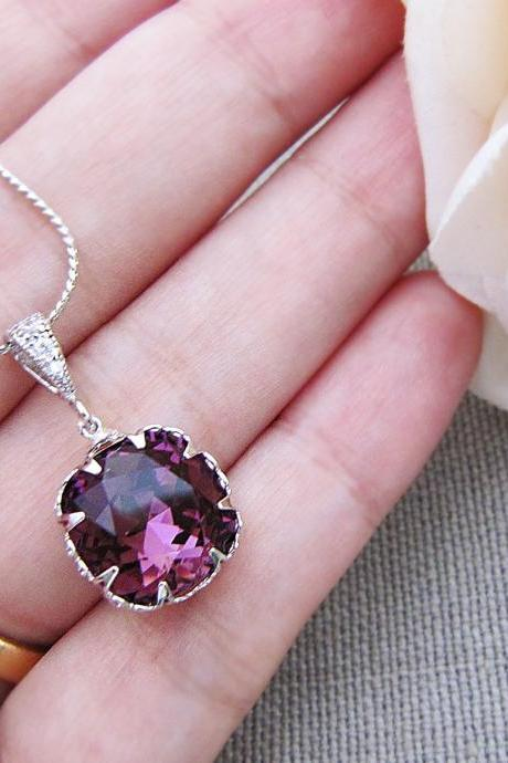 Bridal Necklace Bridesmaid Necklace Amethyst Swarovski Crystal square drop Bridal Necklace