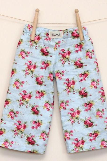 Kids Pyjama Pants - Cotton PJ Pants - Floral Cotton pyjama bottoms for babies and children - Rosy Posey pyjamas s for kids