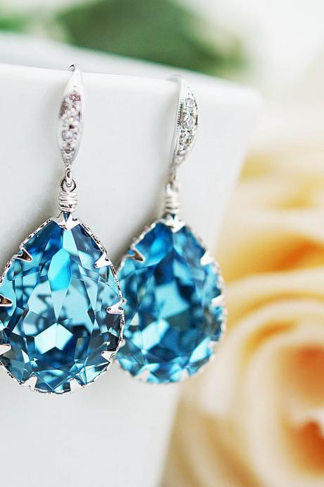 Bridal Earrings Bridesmaid Earrings cubic zirconia ear wires and Aquamarine Swarovski Crystal Tear drops