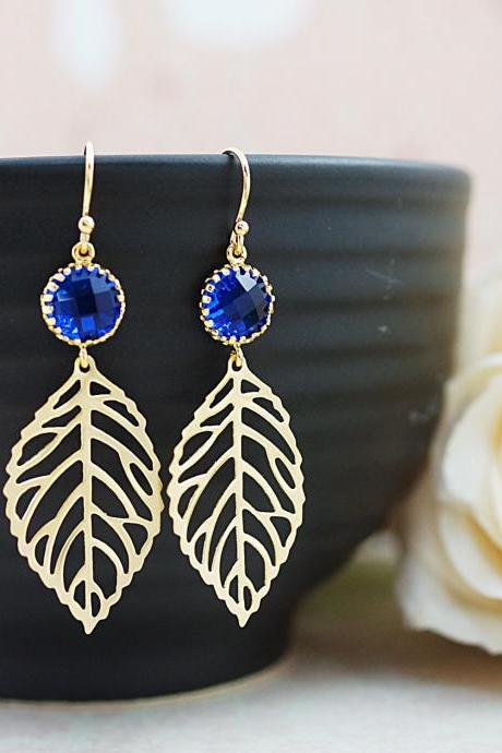Wedding Jewelry Bridesmaid Gift Bridesmaid Earrings Bridesmaid Jewelry Dangle Earrings Leaf charm and Sapphire blue connector drop Earrings