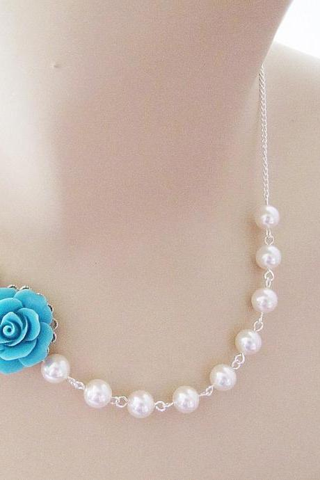 Light Turquoise Blue Rose Flower Cabochon and Crystal White Swarovski Pearls Bridal Necklace