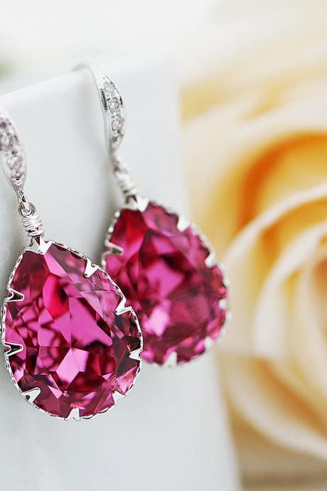 Bridal Earrings Bridesmaid Earrings cubic zirconia ear wires and Rose Pink Swarovski Crystal Tear drops