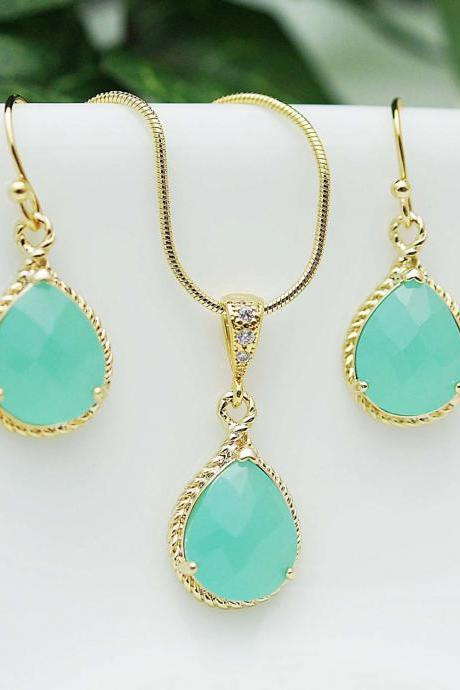 Wedding Jewelry Bridesmaid Jewelry Bridesmaid Earrings Bridesmaid Necklace Mint Opal Glass Gold Trimmed Pear Cut Bridesmaid gift