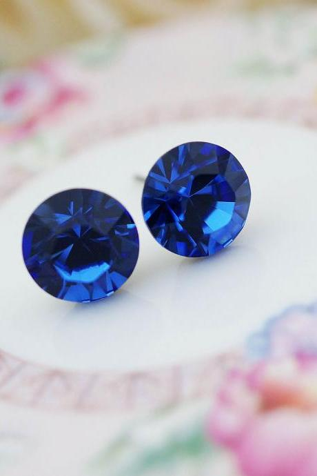 Wedding Bridesmaid Jewelry Bridal Earrings Bridesmaid Earrings Sapphire 10MM Swarovski XILION Chaton Ear Posts