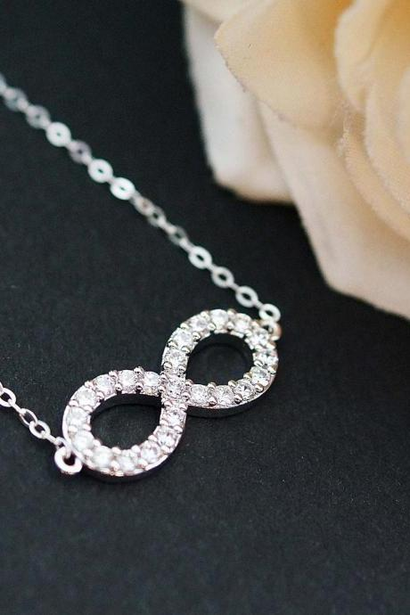 Wedding Jewelry Bridal Jewelry Bridal Necklace cubic zirconia LUX Eternity Infinity charm Necklace Bridesmaid Jewelry Bridesmaid Gift