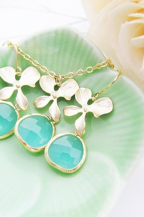 Matte Gold Orchid flower and Sea Foam Glass Drop Necklace and Earrings Bridal Bridesmaid Jewelry Set