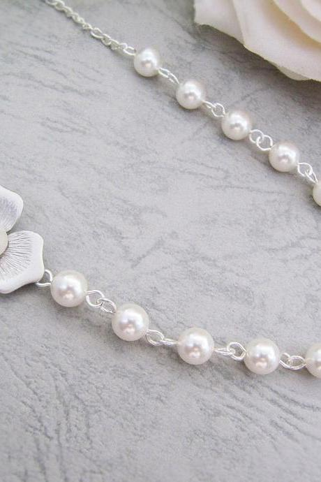 Matte rodium finish Flower charm with fresh water shell pearl and Crystal White Swarovski Pearls Bridal Necklace