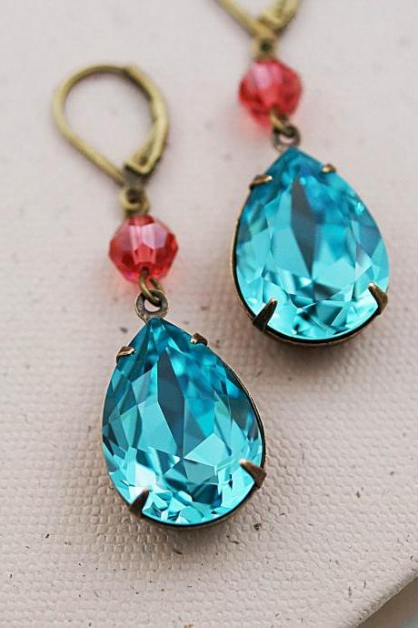 Wedding Jewelry Bridesmaid Earrings Dangle Earrings Estate Style Earrings Light Turquoise with Rose Peach Swarovski Crystal Dangle Earrings