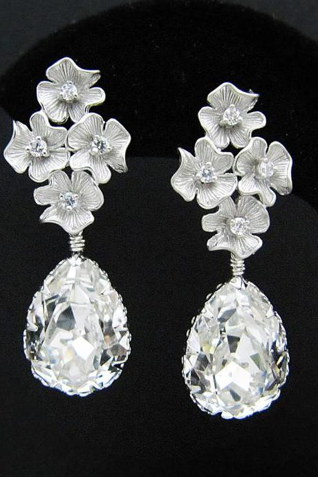 Wedding Jewelry Bridal Earrings Bridesmaid Earrings flower with cubic zirconia ear posts and Clear White Swarovski Crystal Tear drops