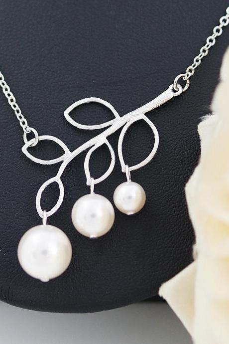 Wedding Jewelry Bridesmaid Necklace Bridesmaid gifts Simple twig and Swarovski Pearls necklace