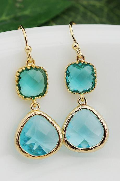 Wedding Jewelry Bridesmaid Earrings Dangle Earrings Gold Framed Blue Zircon and Aquamarine glass drop Earrings Bridesmaid Jewelry