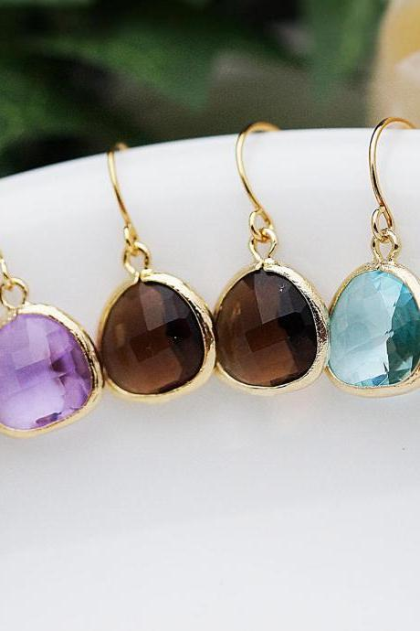 Jewelry Christmas Gift Set of 3 Matte gold framed rough cut glass drops Dangle Earrings Gift for her