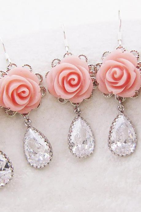 Wedding Jewelry Bridesmaid gifts Bridal Earrings Bridesmaid Earrings Rose Flower Cabochon with Cubic Zirconia Tear Drops 16 Colors to choose