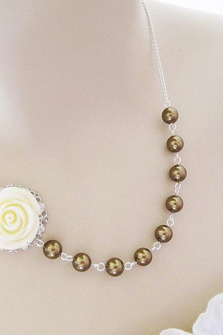 Cream White Rose Flower Cabochon and Antique Brass Swarovski Pearls Bridal Necklace