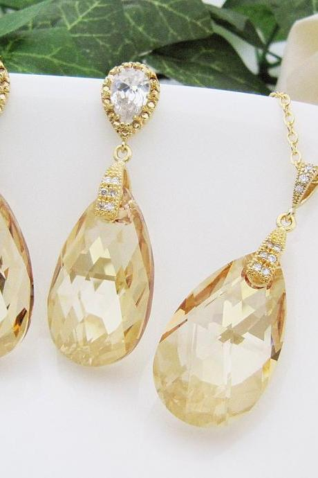 Bridal Necklace Bridal Earrings Matte Rodium plated Cubic zirconia bail with (Huge) Golden Shadow Swarovski Crystal drops Bridal Jewelry Se