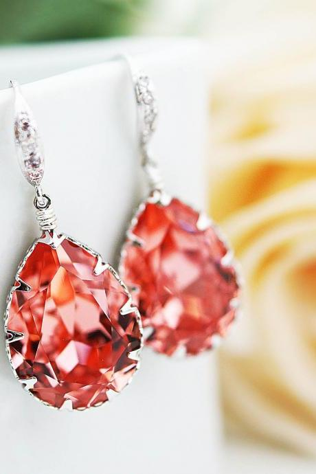 Bridal Earrings Bridesmaid Earrings cubic zirconia ear wires and Rose Peach Coral Swarovski Crystal Tear drops