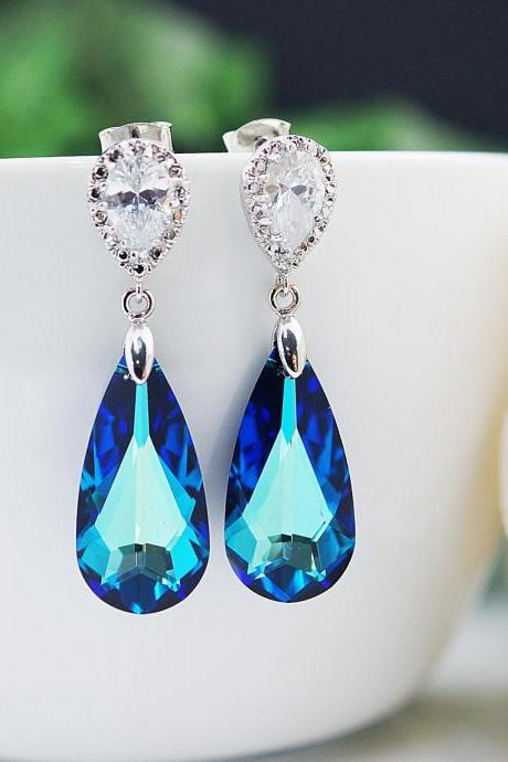 Bridal Earrings Matte Rodium plated Cubic zirconia ear posts with large bermuda blue Swarovski Crystal drops