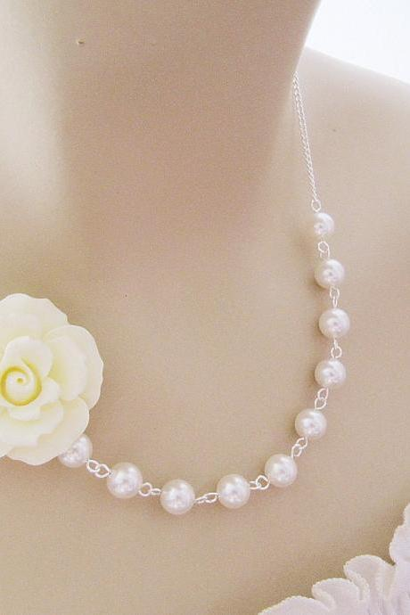 Wedding Jewelry Bridal Jewelry Bridal Necklace Bridesmaid Necklace Cream Ruffle Rose Flower Cabochon and Crystal White Swarovski Pearls